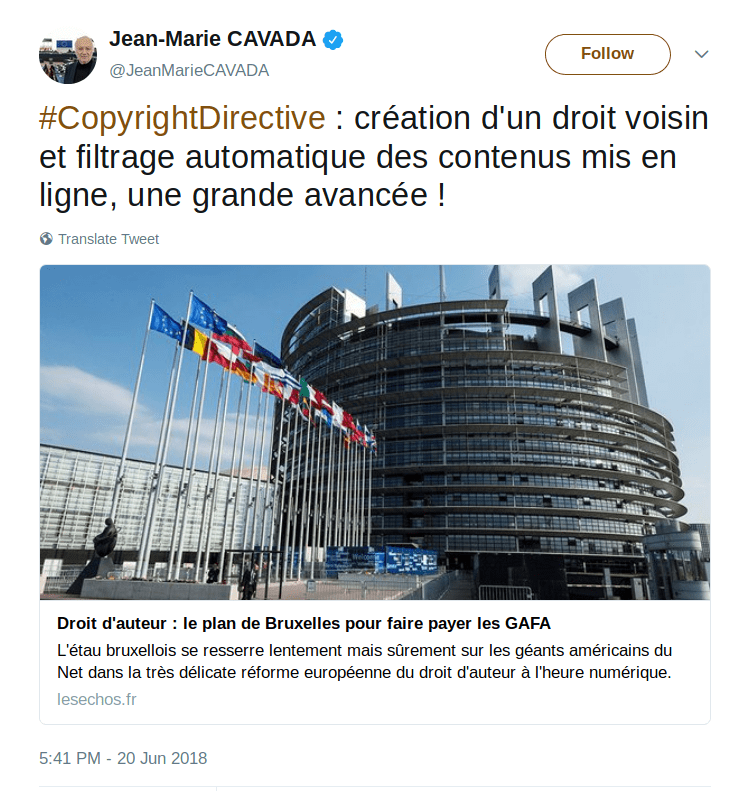 "MEPs' email says Article 13 ""will not filter the internet""; JURI MEP's tweet says it will"